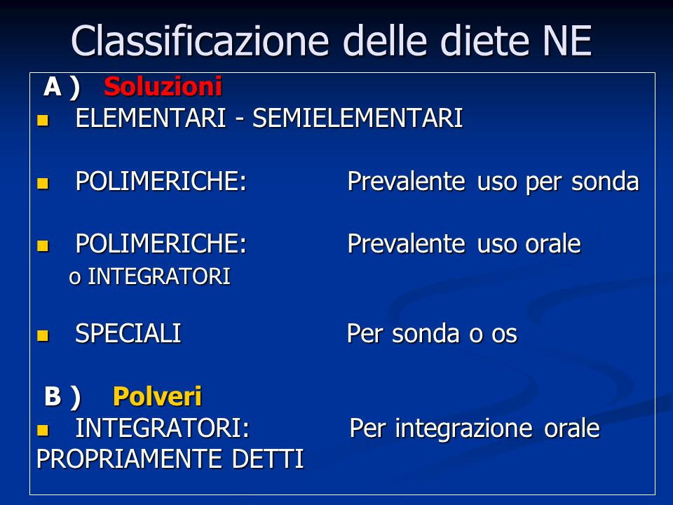 Classificazione delle diete NE