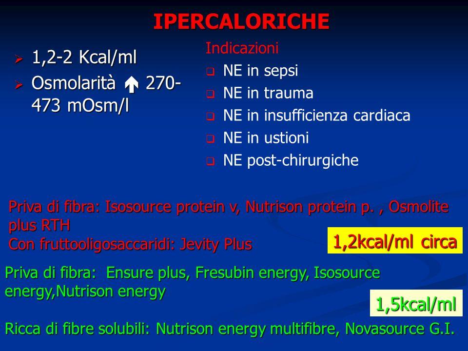 IPERCALORICHE 1,2-2 Kcal/ml Osmolarità  270-473 mOsm/l