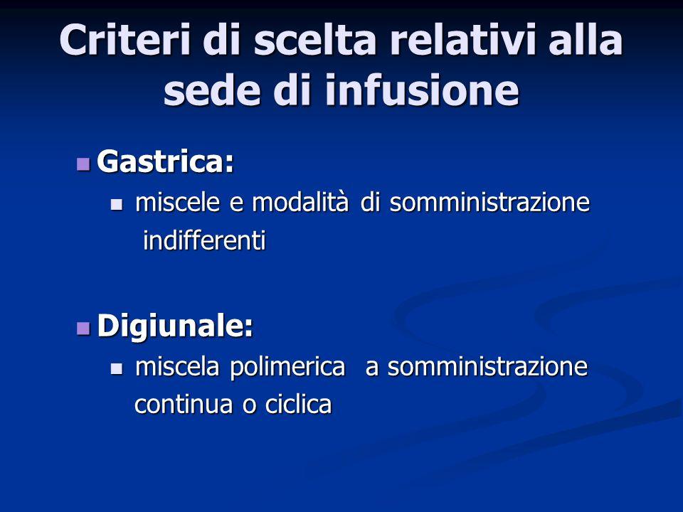 Criteri di scelta relativi alla sede di infusione