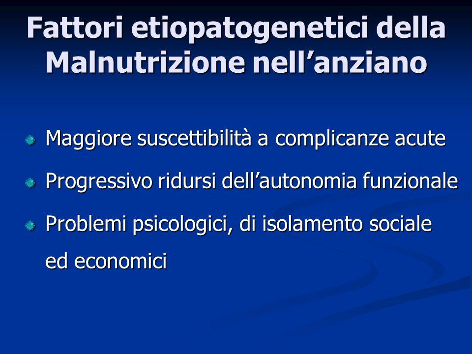 Fattori etiopatogenetici della Malnutrizione nell'anziano