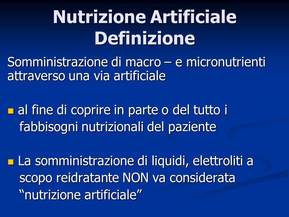 Nutrizione Artificiale Definizione