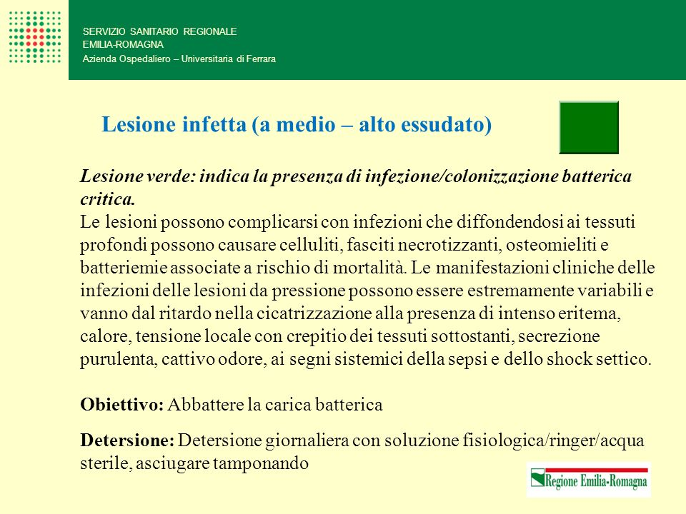 Lesione infetta (a medio – alto essudato)