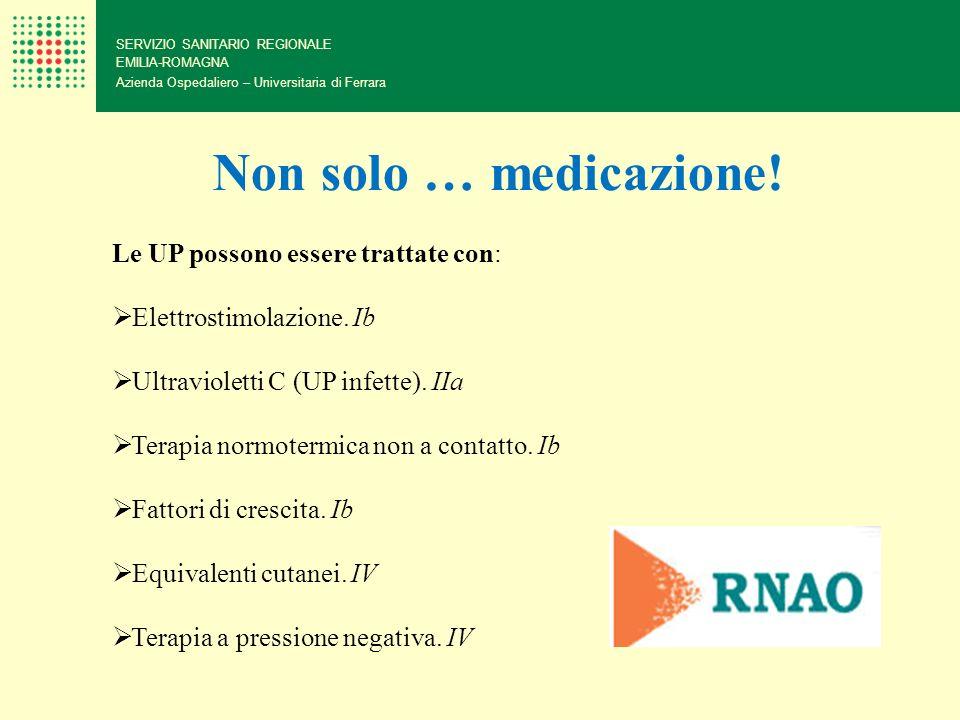 Non solo … medicazione! Le UP possono essere trattate con: