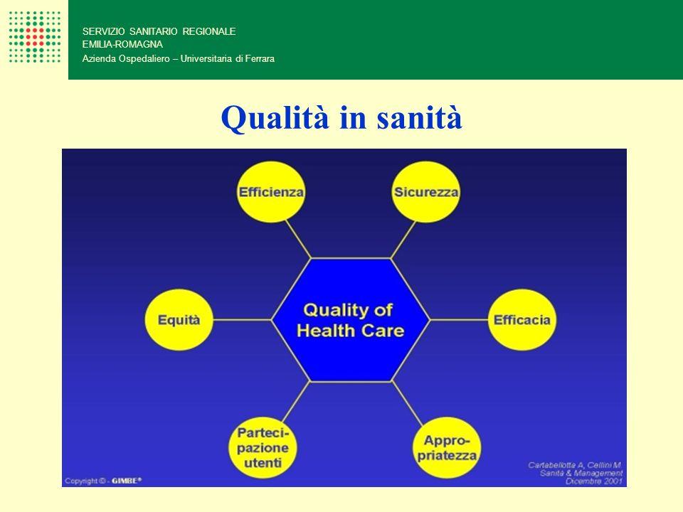 Qualità in sanità 20 SERVIZIO SANITARIO REGIONALE EMILIA-ROMAGNA