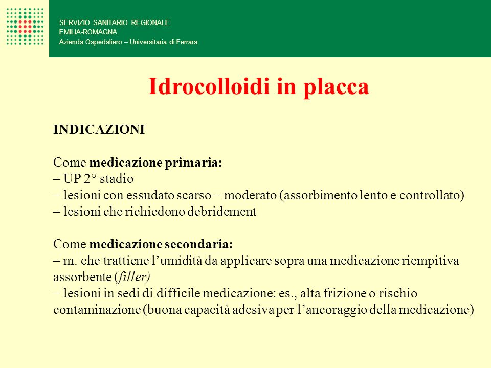 Idrocolloidi in placca