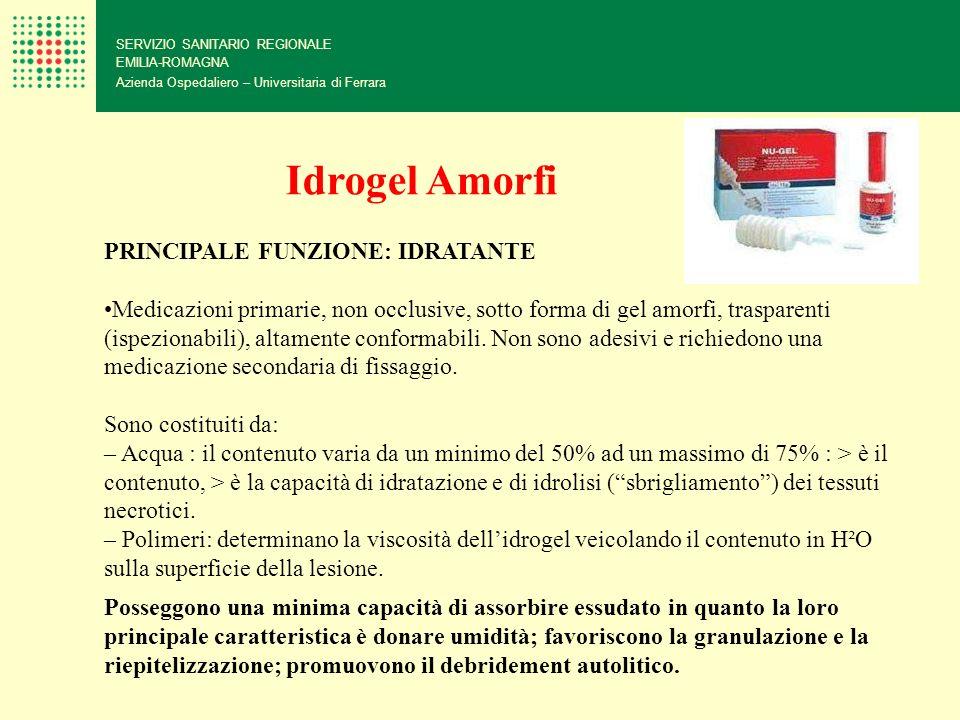 Idrogel Amorfi PRINCIPALE FUNZIONE: IDRATANTE