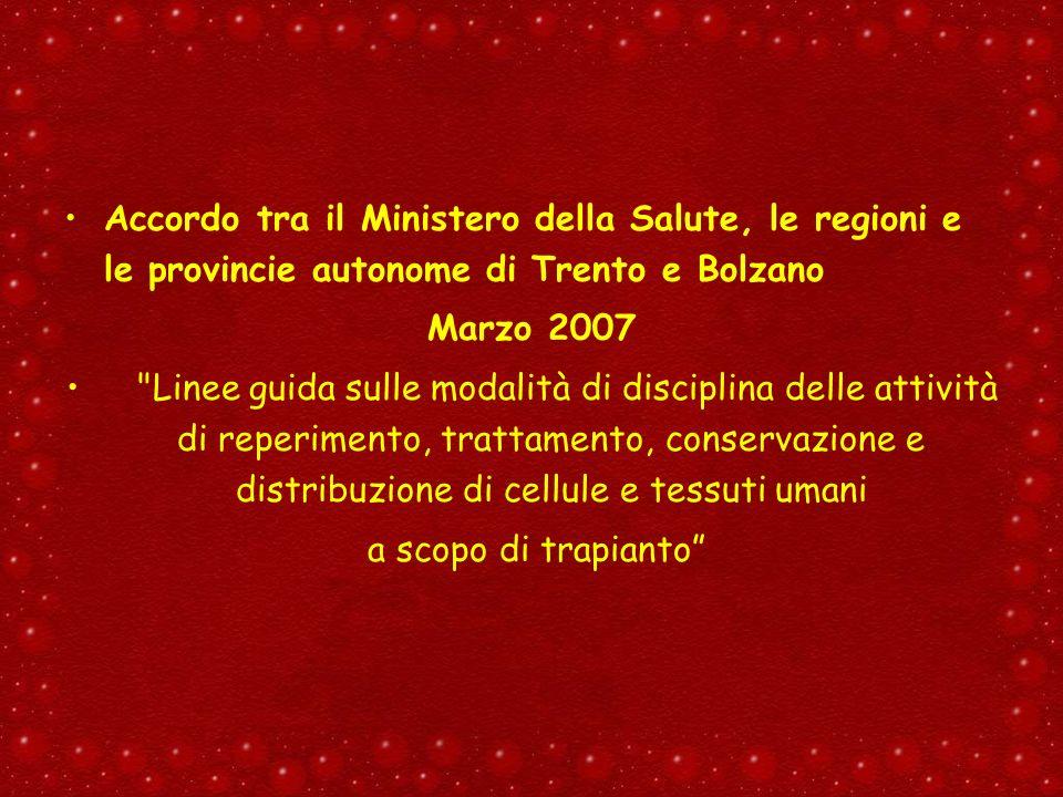 Accordo tra il Ministero della Salute, le regioni e le provincie autonome di Trento e Bolzano