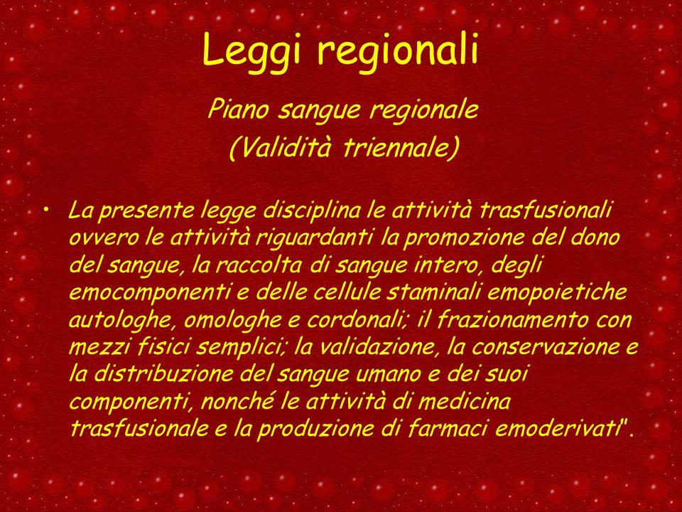 Piano sangue regionale