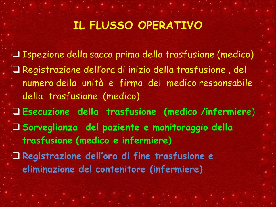 IL FLUSSO OPERATIVO Ispezione della sacca prima della trasfusione (medico)