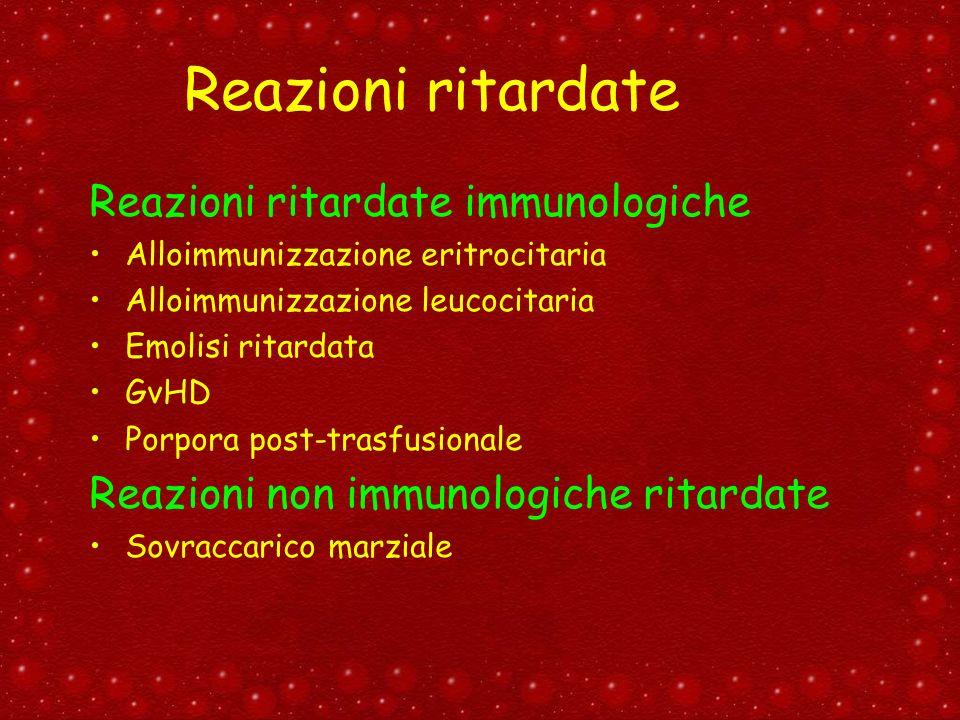 Reazioni ritardate Reazioni ritardate immunologiche