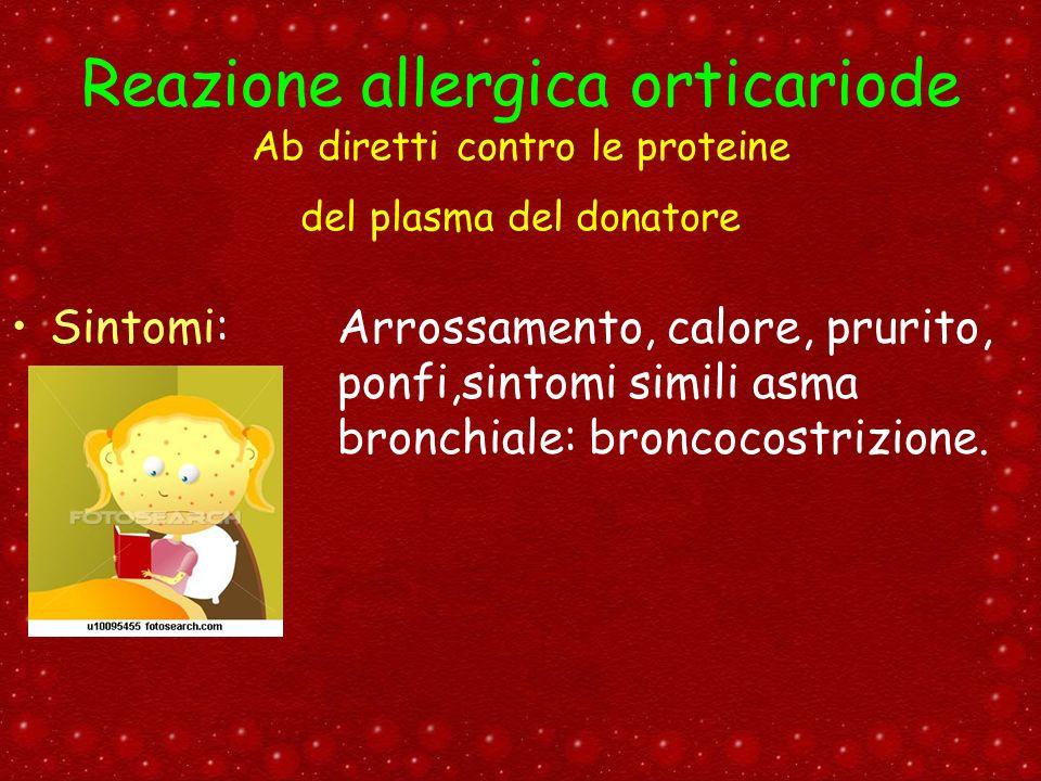 Reazione allergica orticariode Ab diretti contro le proteine del plasma del donatore