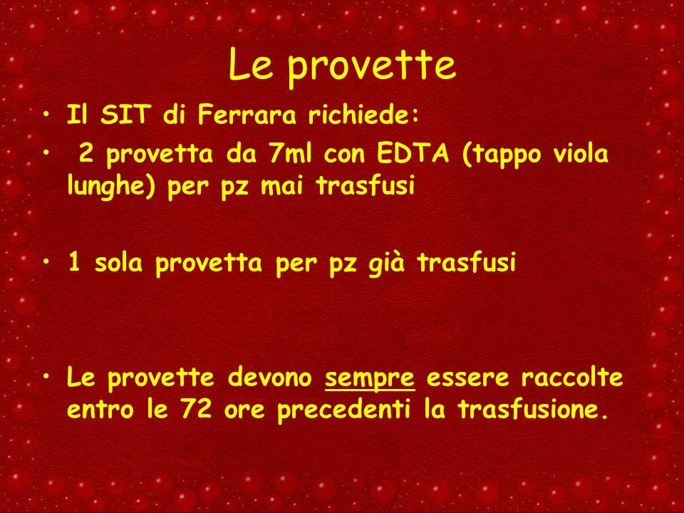 Le provette Il SIT di Ferrara richiede: