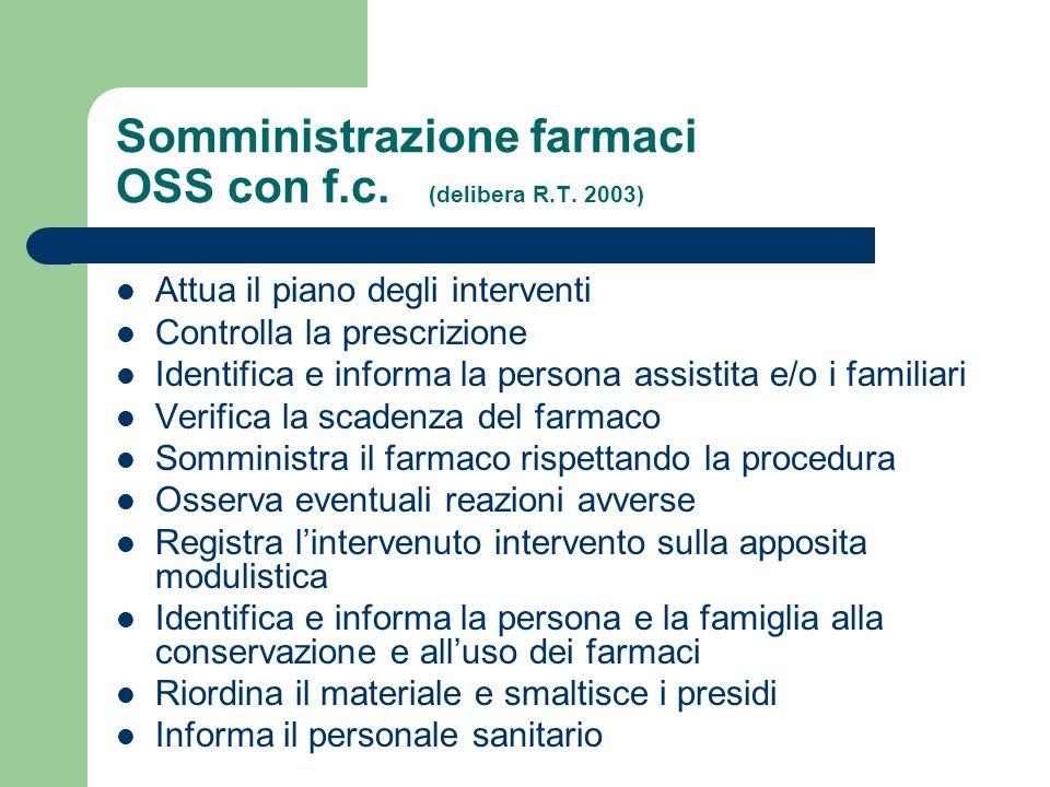 Somministrazione farmaci OSS con f.c. (delibera R.T. 2003)