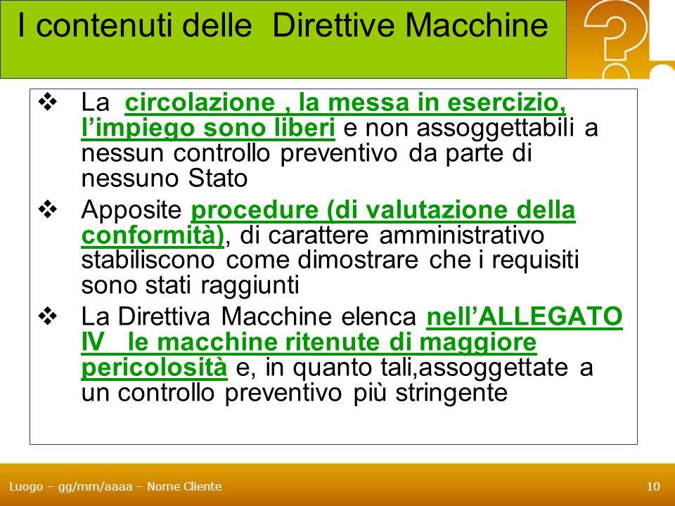 I contenuti delle Direttive Macchine