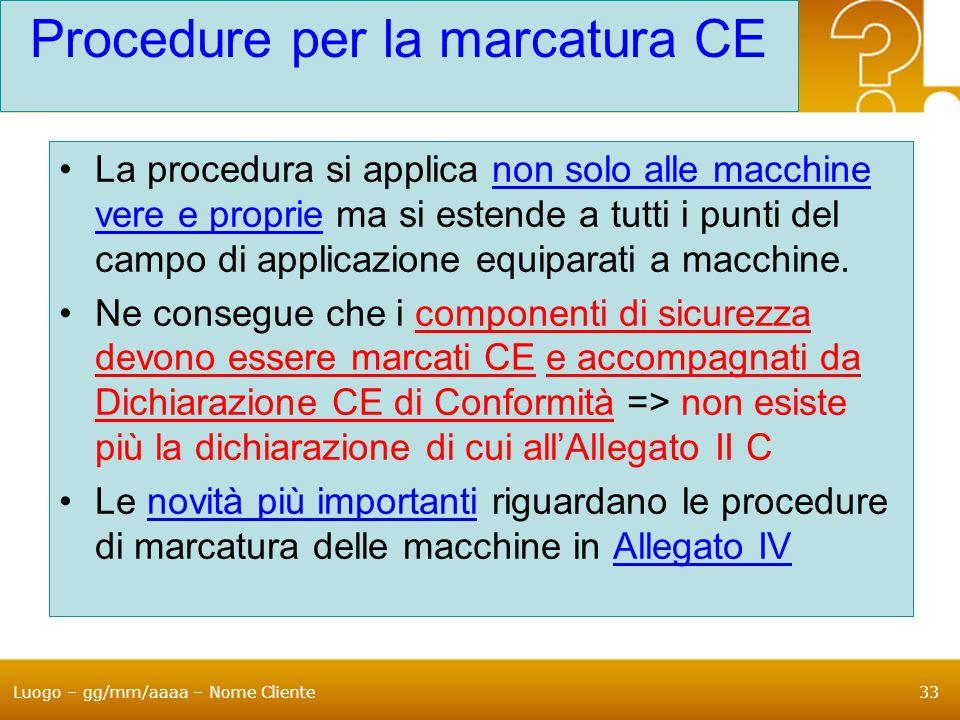 Procedure per la marcatura CE