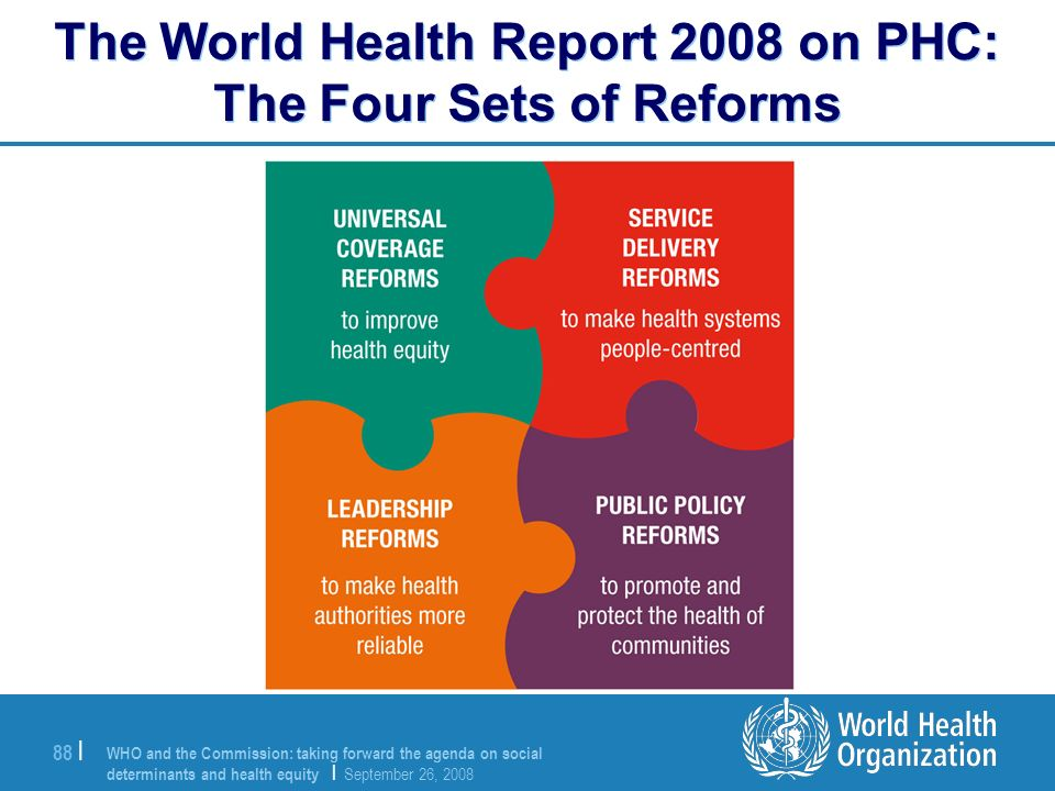 The World Health Report 2008 on PHC: The Four Sets of Reforms