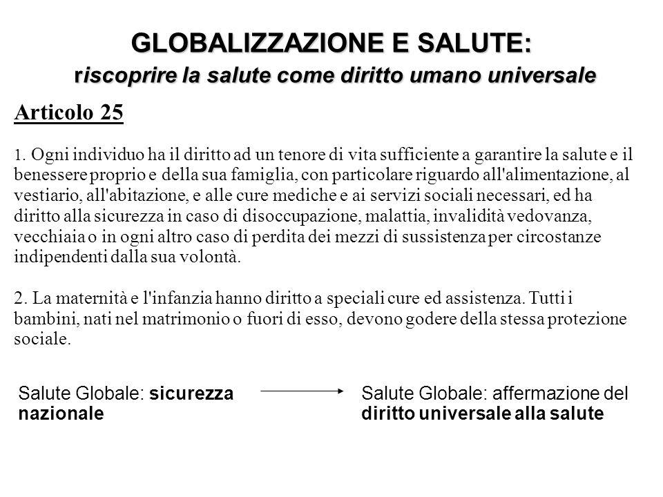 GLOBALIZZAZIONE E SALUTE: