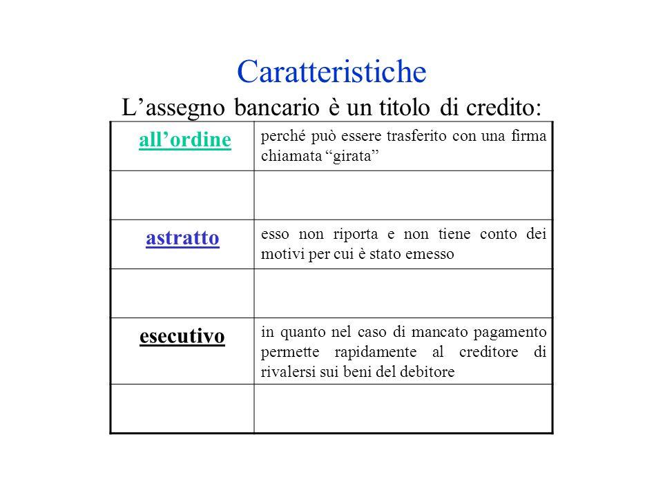 Caratteristiche L'assegno bancario è un titolo di credito: