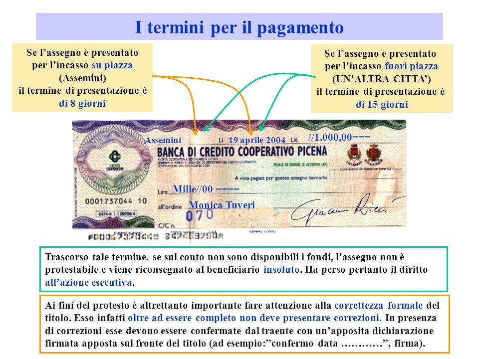 I termini per il pagamento