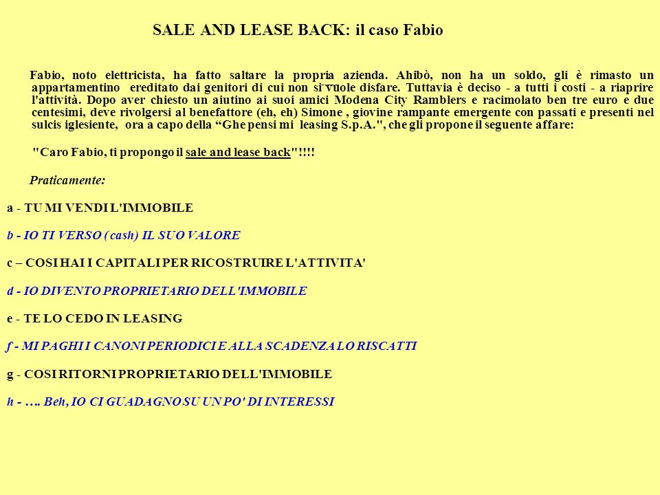 SALE AND LEASE BACK: il caso Fabio