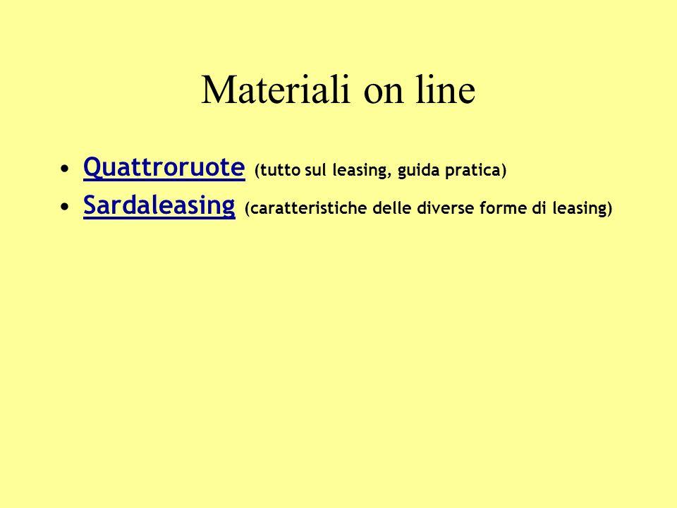 Materiali on line Quattroruote (tutto sul leasing, guida pratica)