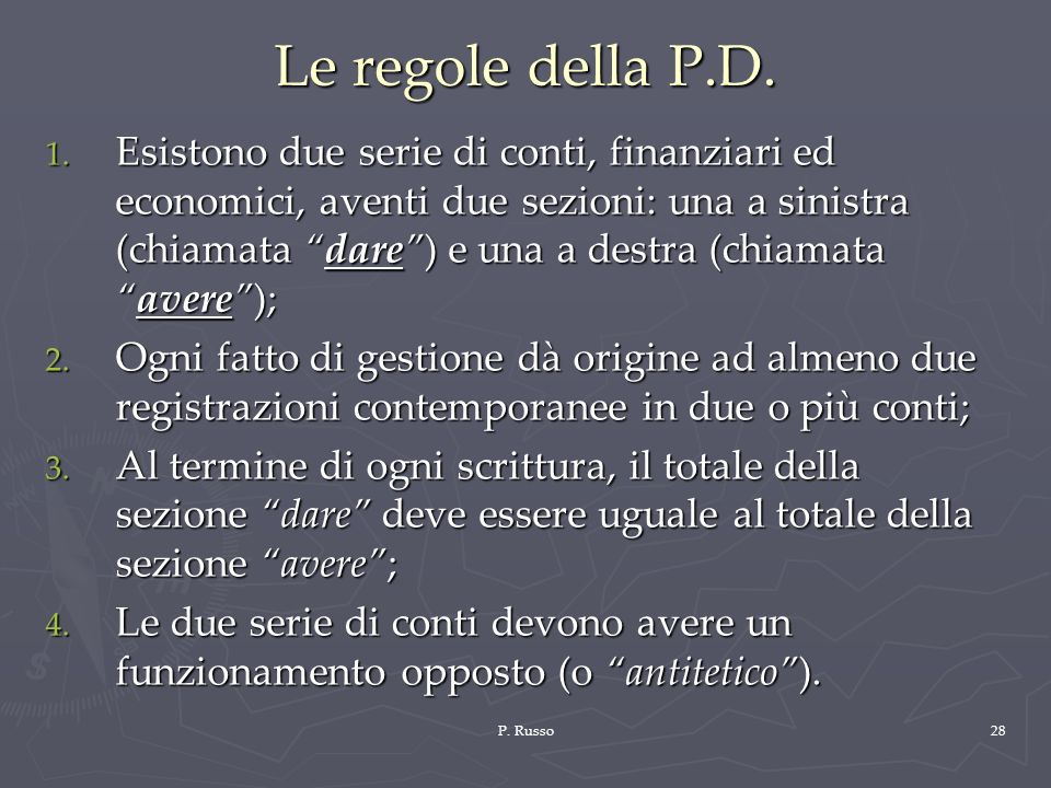 Le regole della P.D.