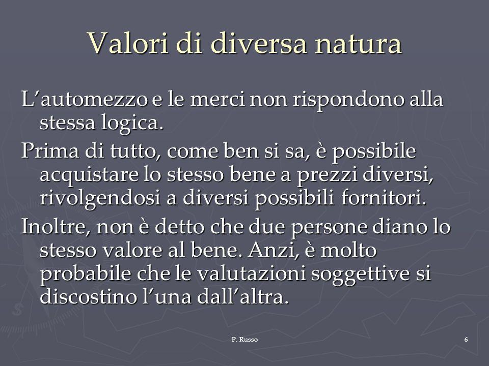 Valori di diversa natura