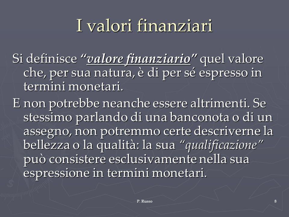I valori finanziari Si definisce valore finanziario quel valore che, per sua natura, è di per sé espresso in termini monetari.