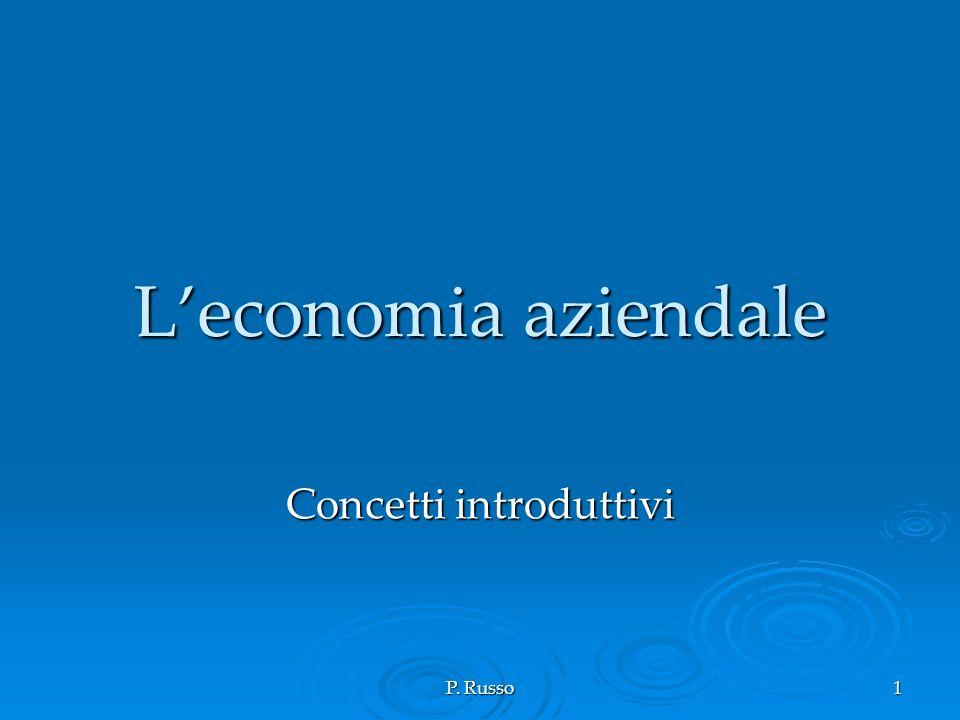 Concetti introduttivi all economia aziendale Concetti introduttivi