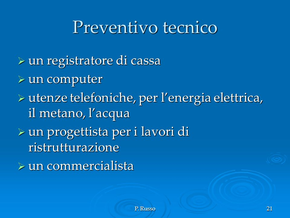 Preventivo tecnico un registratore di cassa un computer