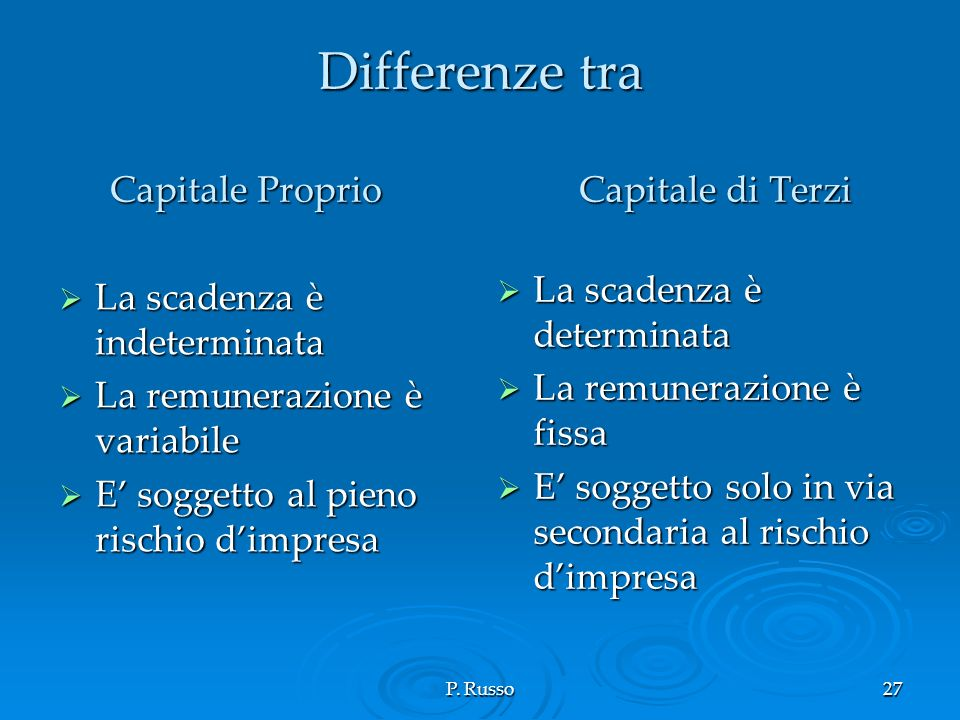 Differenze tra Capitale Proprio Capitale di Terzi