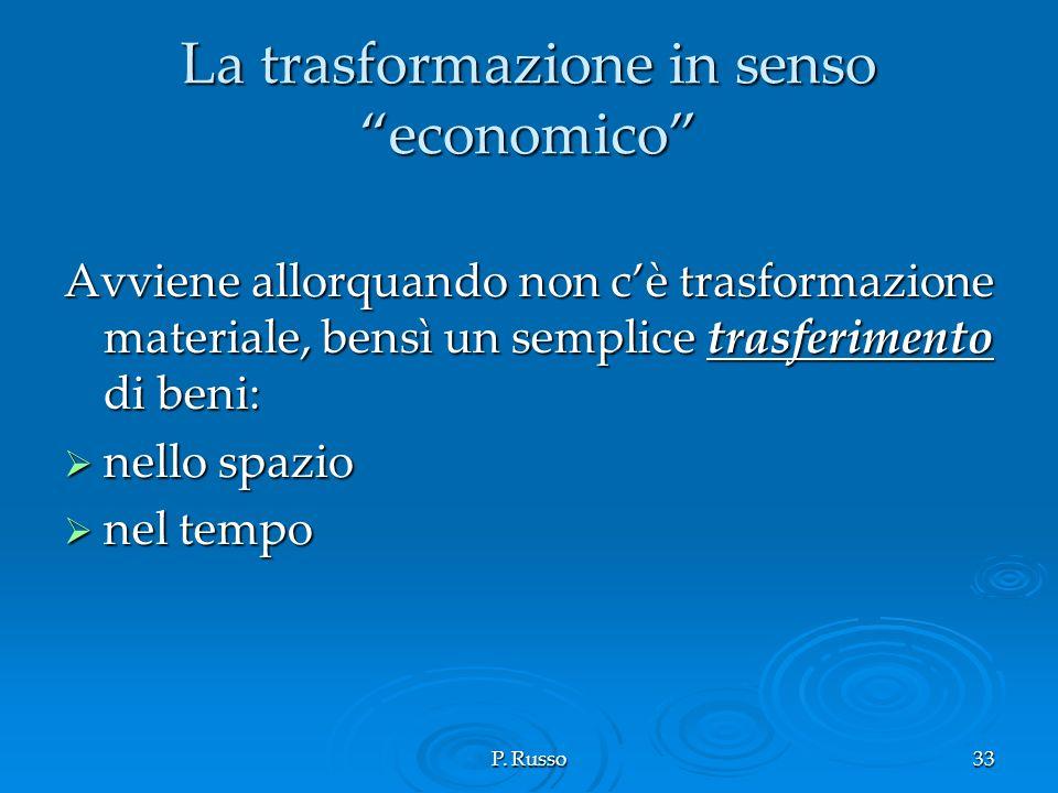 La trasformazione in senso economico