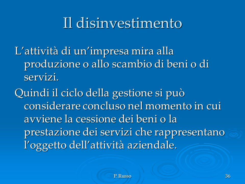 Il disinvestimento L'attività di un'impresa mira alla produzione o allo scambio di beni o di servizi.