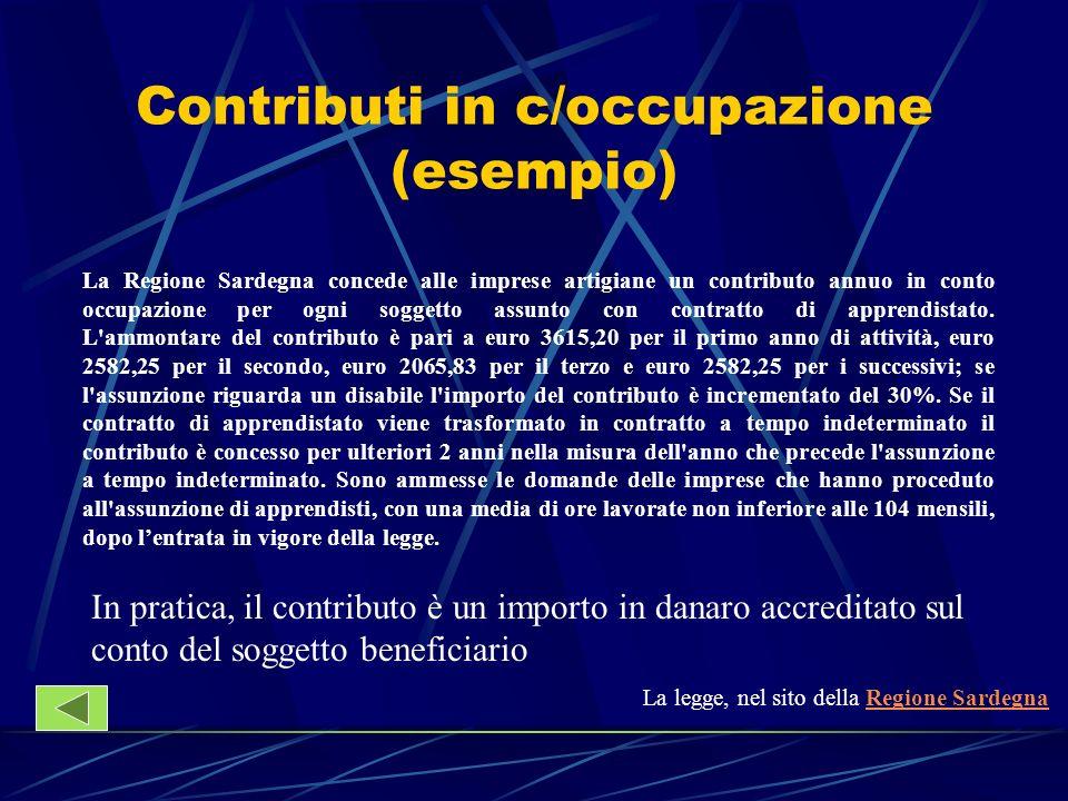 Contributi in c/occupazione (esempio)
