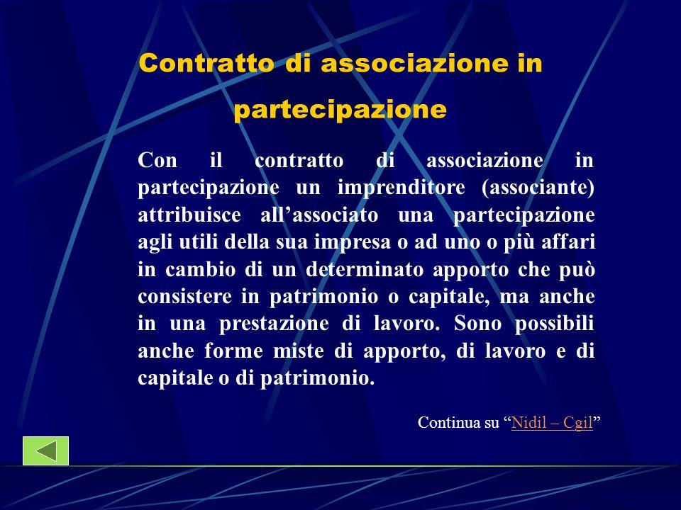 Contratto di associazione in partecipazione