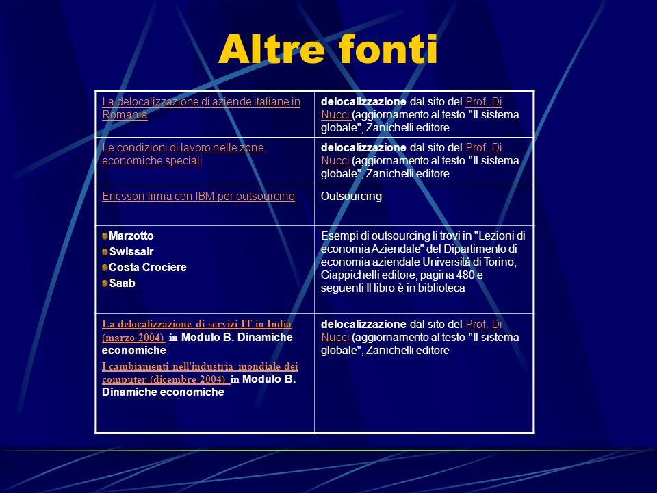 Altre fonti La delocalizzazione di aziende italiane in Romania