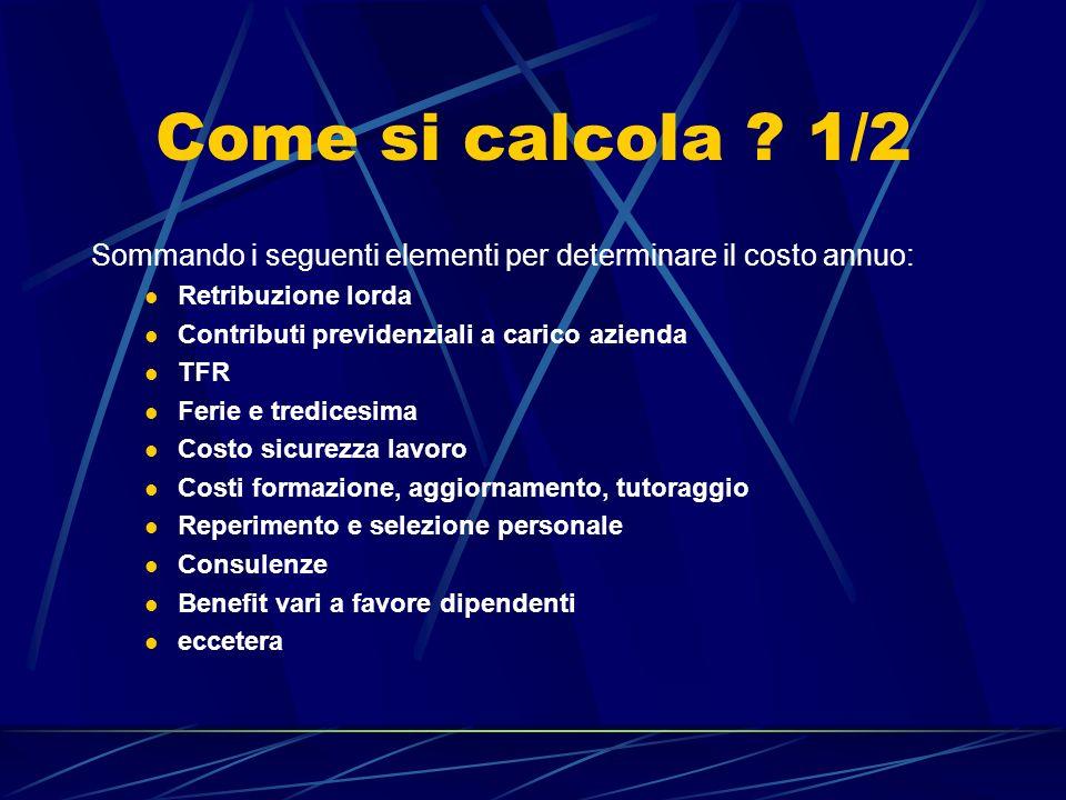 Come si calcola 1/2 Sommando i seguenti elementi per determinare il costo annuo: Retribuzione lorda.