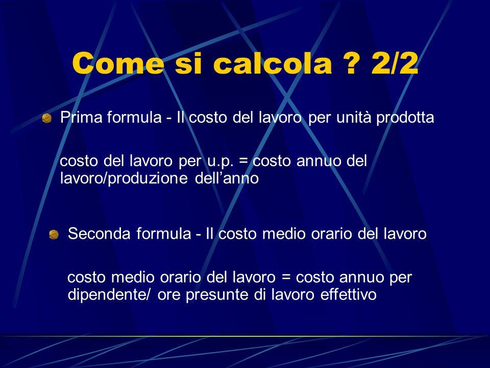 Come si calcola 2/2 Prima formula - Il costo del lavoro per unità prodotta.