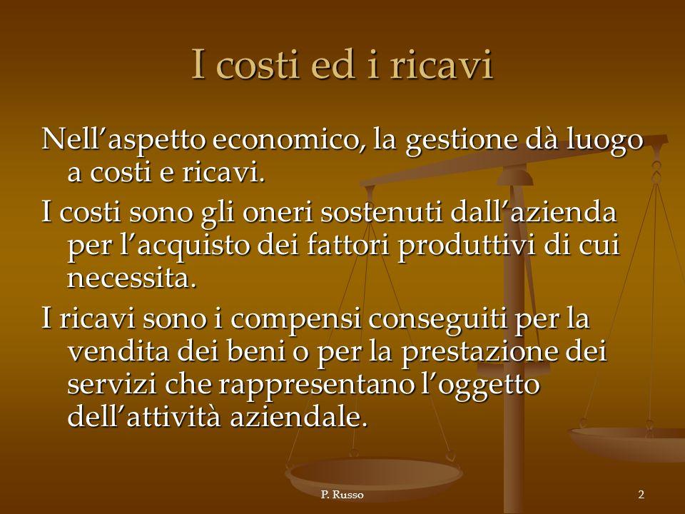 I costi ed i ricavi Nell'aspetto economico, la gestione dà luogo a costi e ricavi.