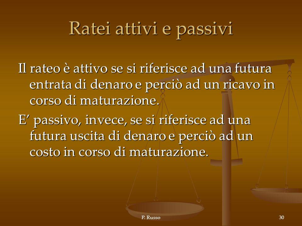 Ratei attivi e passivi Il rateo è attivo se si riferisce ad una futura entrata di denaro e perciò ad un ricavo in corso di maturazione.