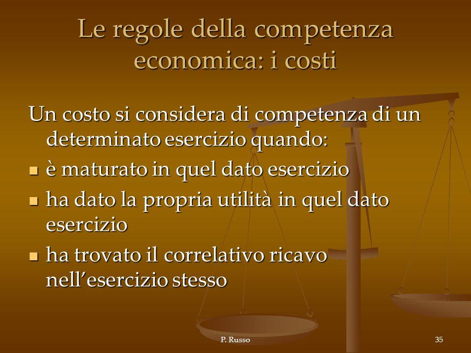 Le regole della competenza economica: i costi