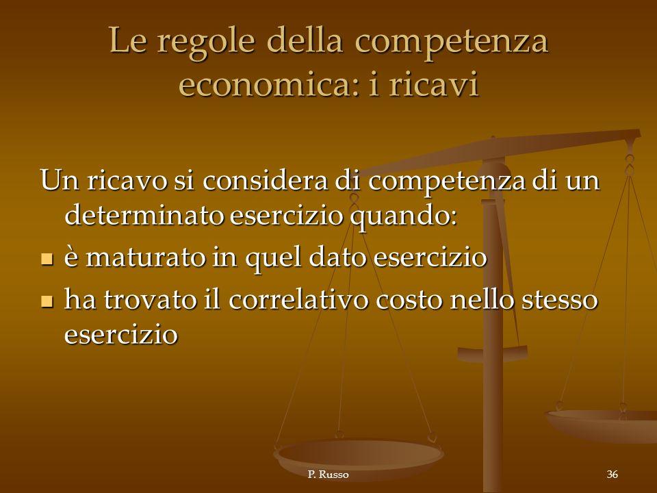 Le regole della competenza economica: i ricavi