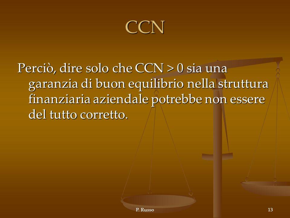 CCN Perciò, dire solo che CCN > 0 sia una garanzia di buon equilibrio nella struttura finanziaria aziendale potrebbe non essere del tutto corretto.