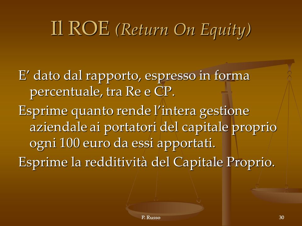 Il ROE (Return On Equity)