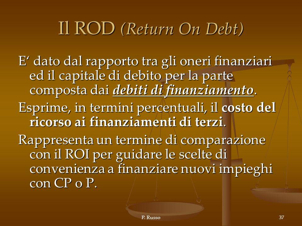 Il ROD (Return On Debt) E' dato dal rapporto tra gli oneri finanziari ed il capitale di debito per la parte composta dai debiti di finanziamento.