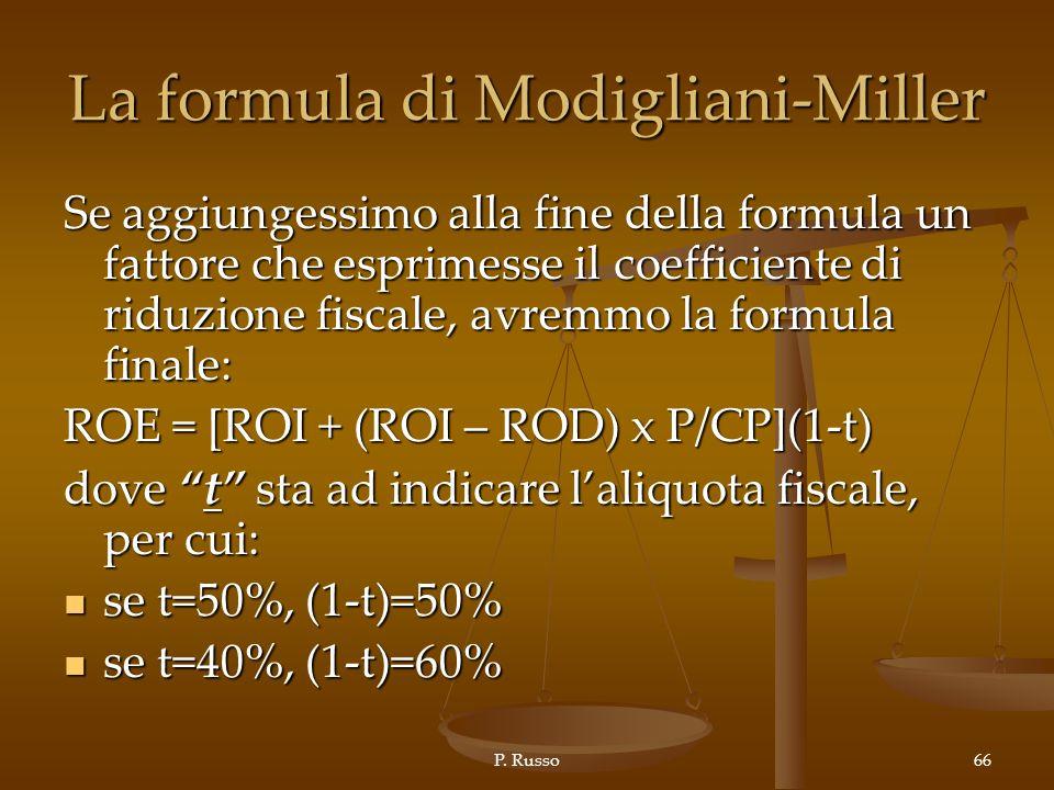 La formula di Modigliani-Miller