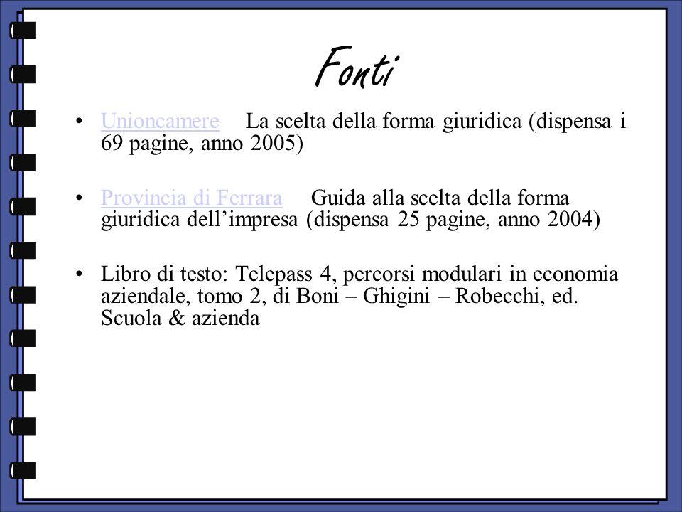 Fonti Unioncamere La scelta della forma giuridica (dispensa i 69 pagine, anno 2005)