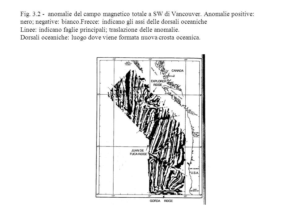 Fig. 3. 2 - anomalie del campo magnetico totale a SW di Vancouver
