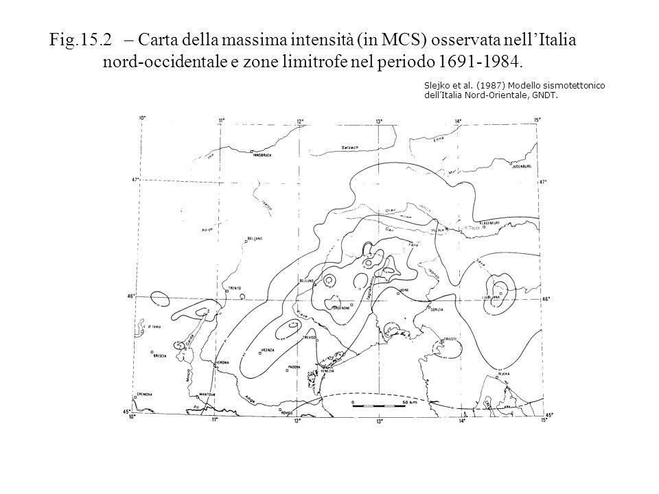 Fig.15.2 – Carta della massima intensità (in MCS) osservata nell'Italia nord-occidentale e zone limitrofe nel periodo 1691-1984.