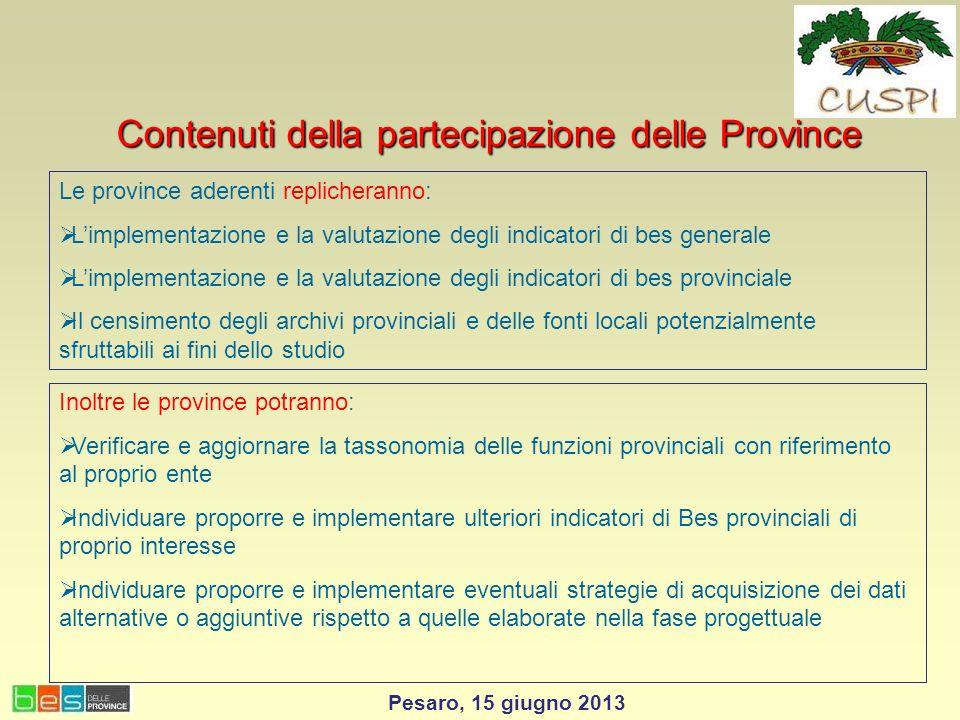 Contenuti della partecipazione delle Province